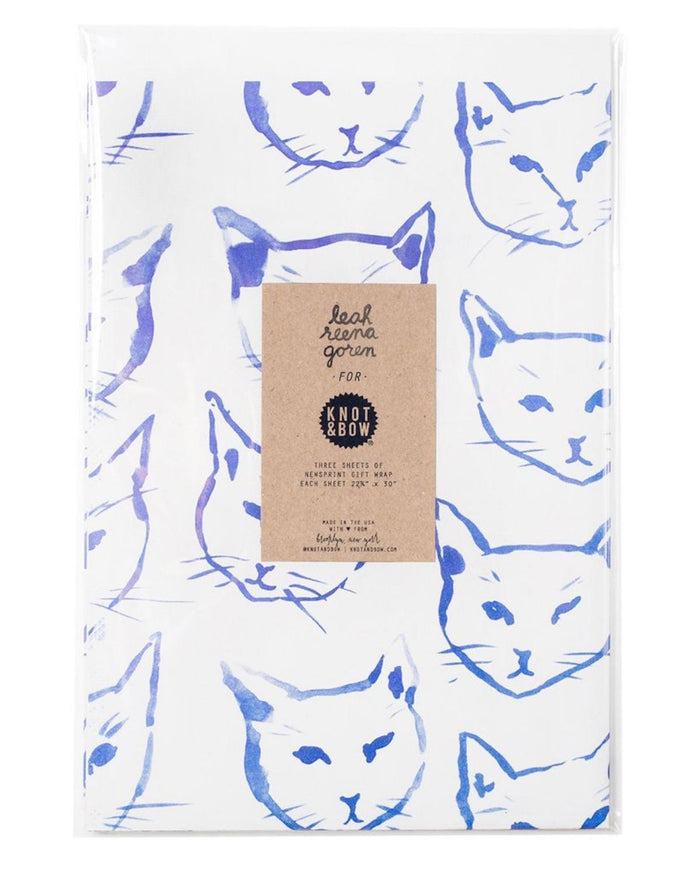 Little knot + bow paper+party Indigo Cats Gift Wrap