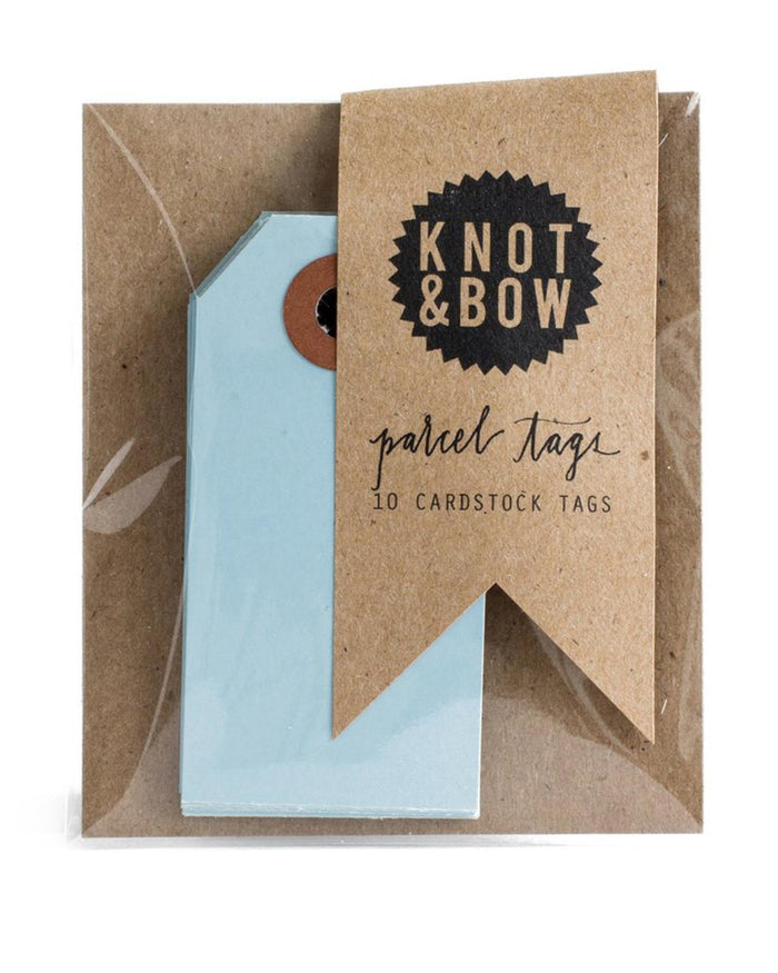 Little knot + bow paper+party Parcel Tags in Light Blue
