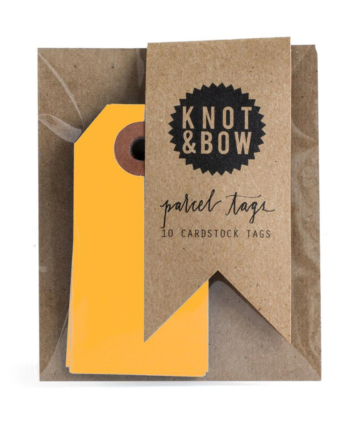 Little knot + bow paper+party Parcel Tags in Neon Orange