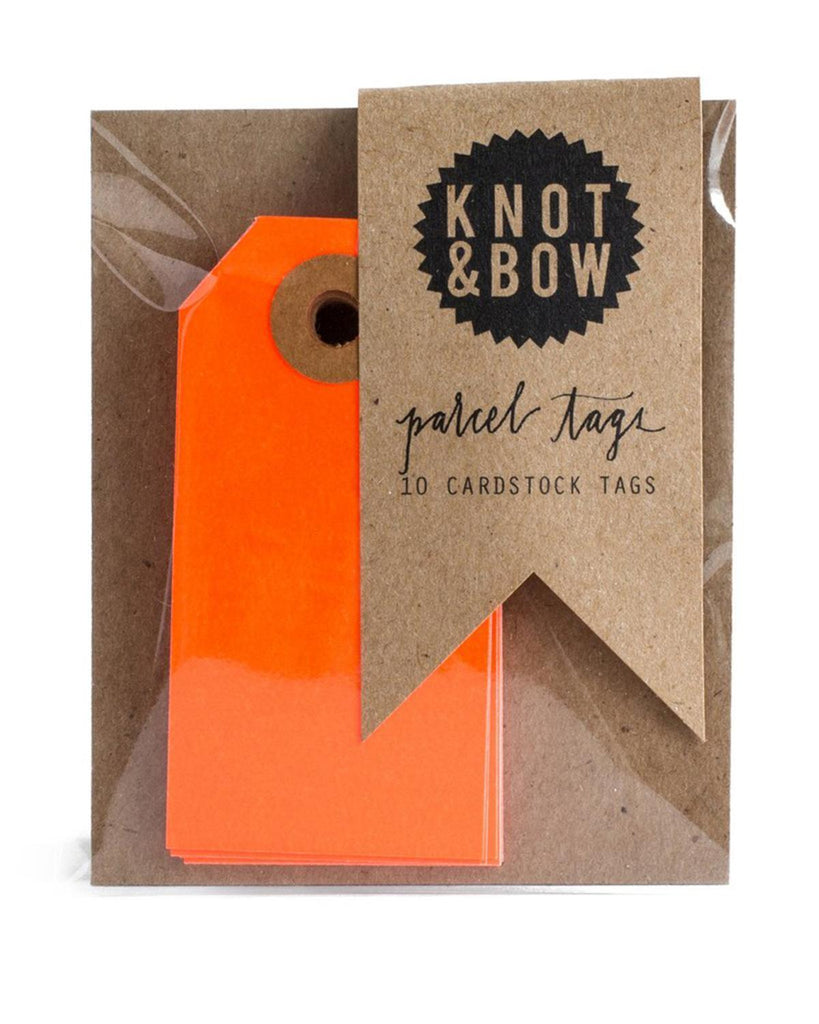 Little knot + bow paper+party Parcel Tags in Neon Red