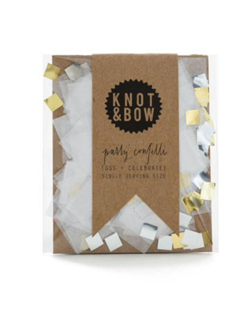 Little knot + bow paper+party Single Serving Party Confetti in White Metallic