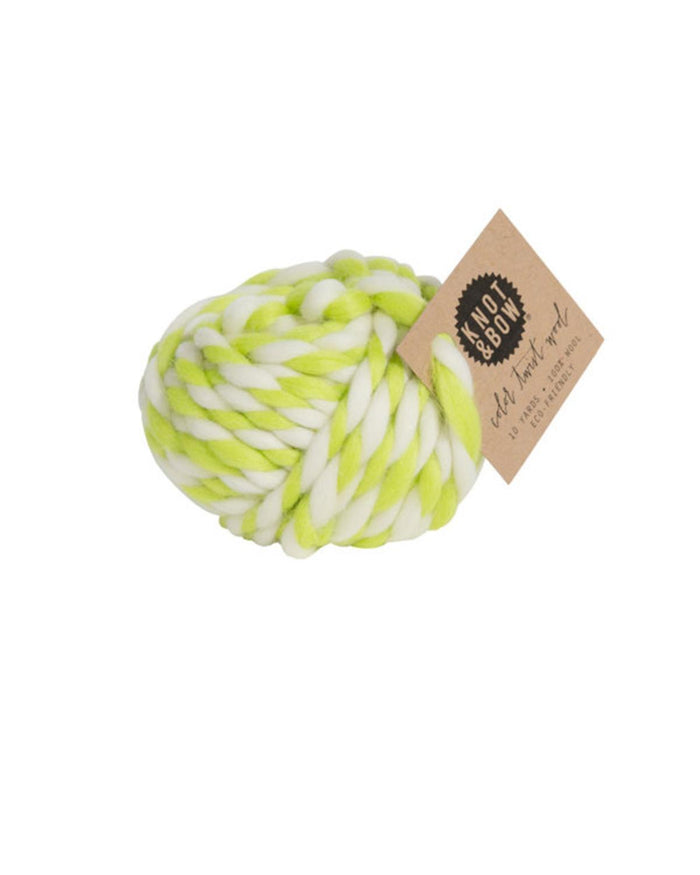 Little knot + bow paper+party Twist Wool in Chartreuse