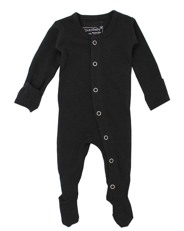 Little l'ovedbaby layette nb footed overall black