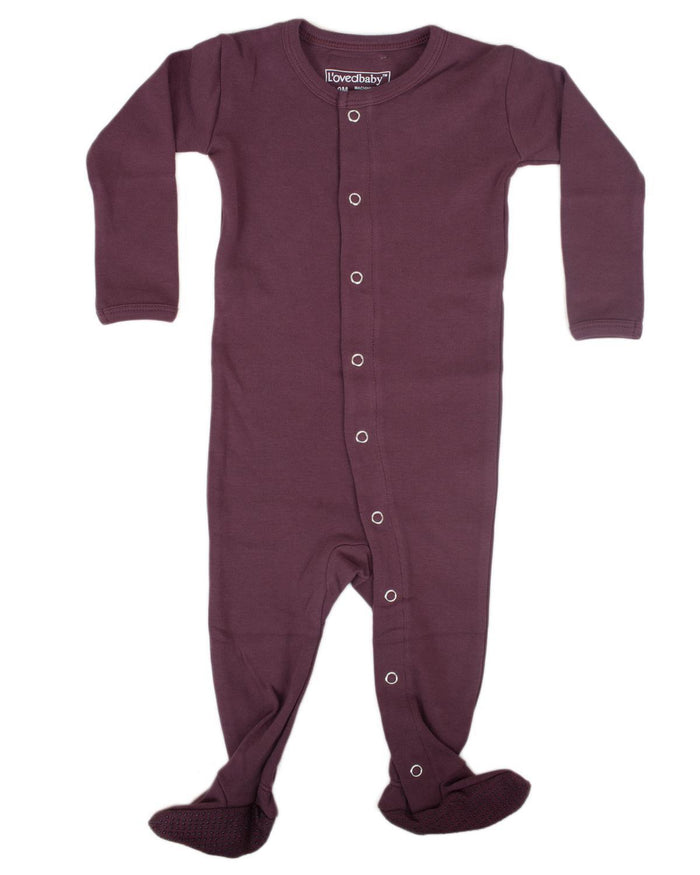Little l'ovedbaby layette nb Footed Overall in Eggplant