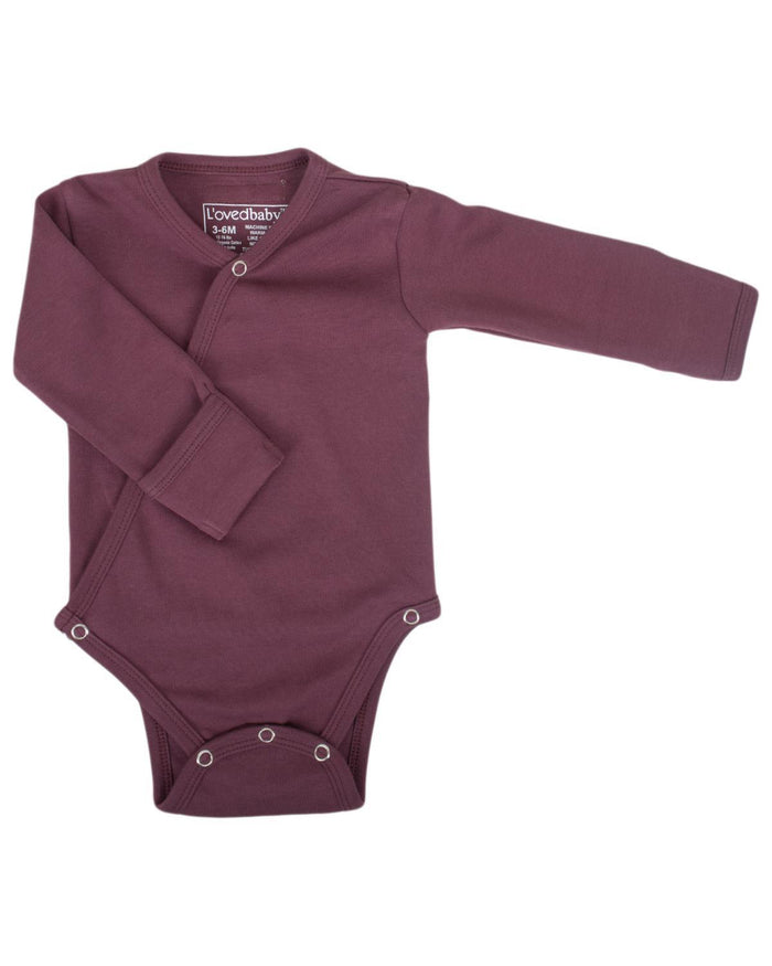 Little l'ovedbaby layette nb Kimono Bodysuit in Eggplant
