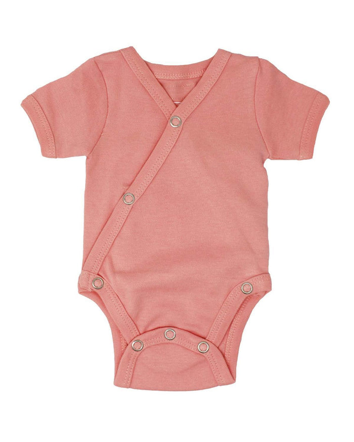 Little l'ovedbaby layette nb short sleeve kimono bodysuit in coral