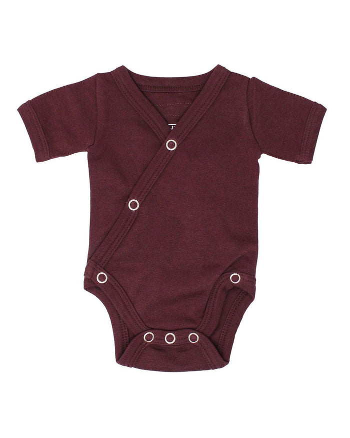Little l'ovedbaby layette nb short sleeve kimono bodysuit in eggplant