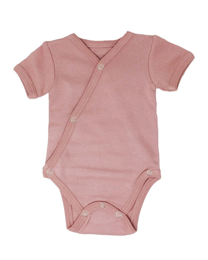 Little l'ovedbaby layette nb short sleeve kimono bodysuit in mauve