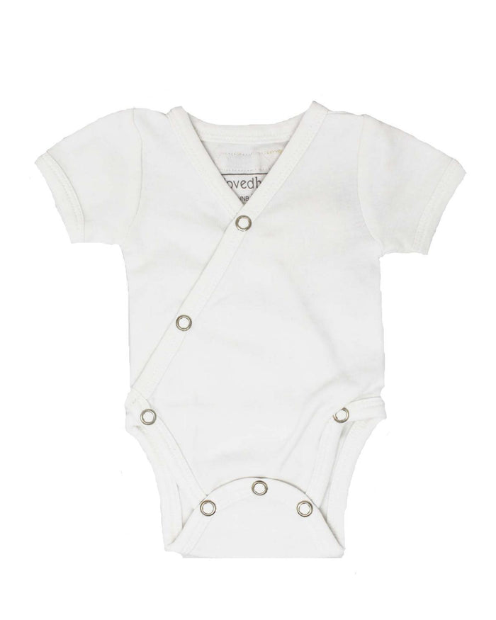 Little l'ovedbaby layette nb short sleeve kimono bodysuit in white
