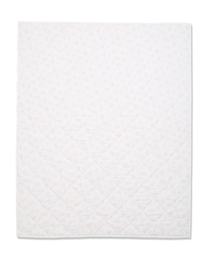 Little lewis room rose hip quilted baby blanket in blush
