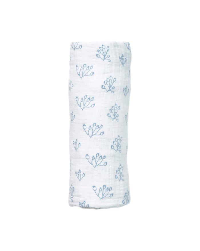 Little lewis baby accessories rose hip swaddle in bay blue