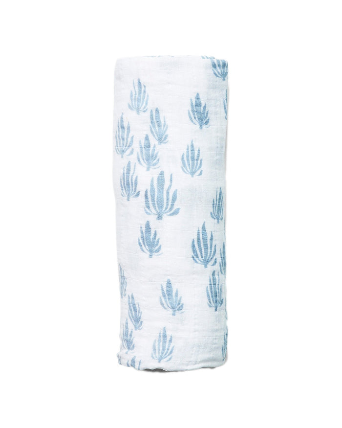 Little lewis baby accessories seaweed swaddle in bay blue