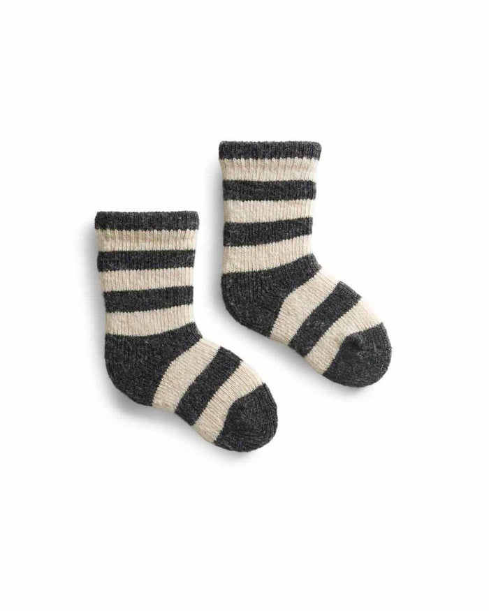 Little lisa b. accessories baby rugby stripe socks in charcoal