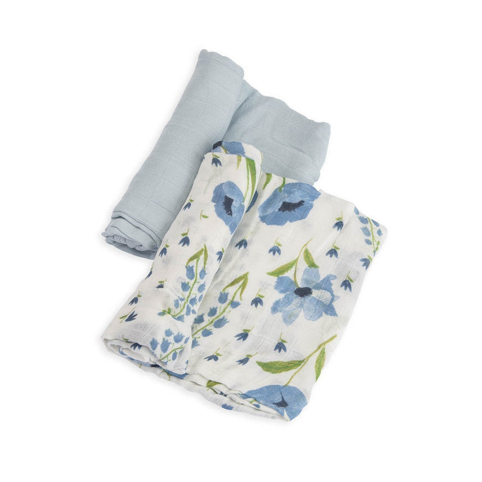 Little Little baby accessories deluxe muslin swaddle 2 pack in blue windflower