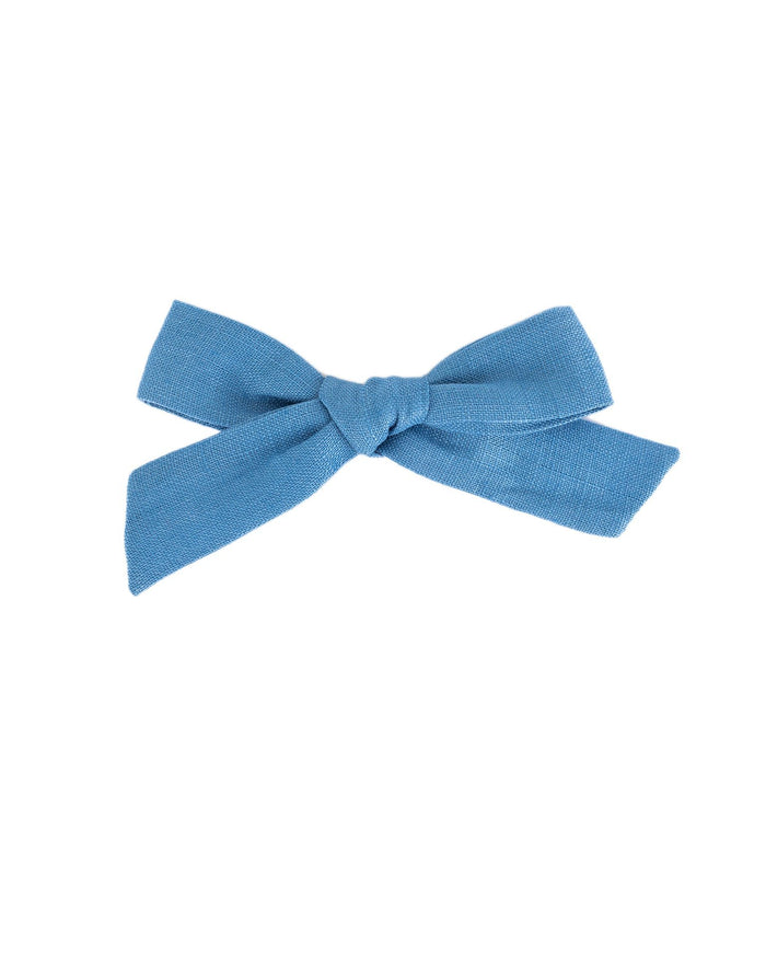 Little little accessories medium schoolgirl bow in bluebell