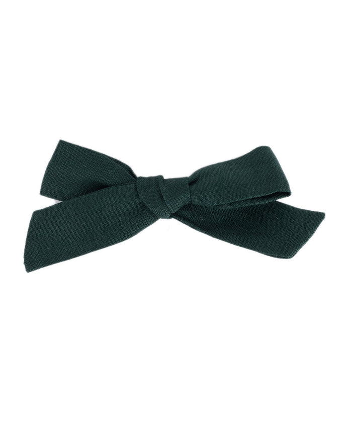 Little little accessories medium schoolgirl bow in hunter