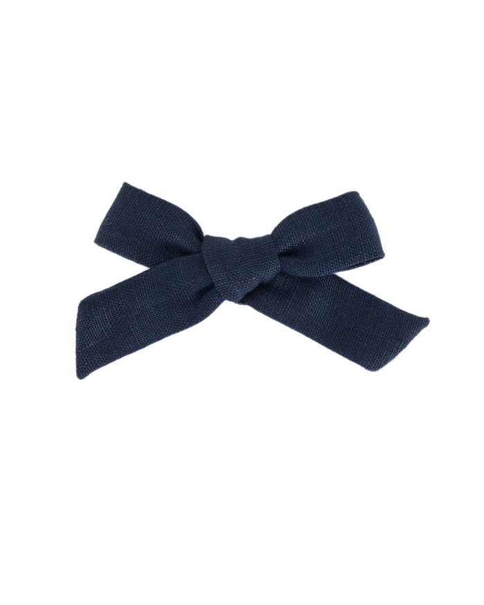 Little little accessories medium schoolgirl bow in indigo