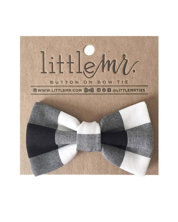 Little little mister accessories s Button on Bow Tie in Black Check