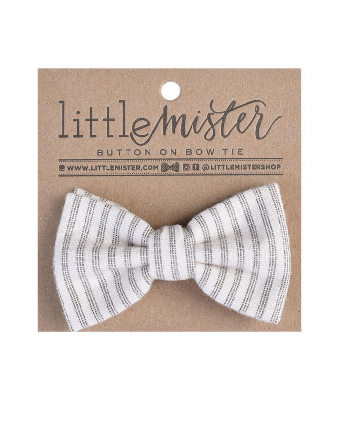 Little little mister accessories s Button on Bow Tie in Charcoal Stripe