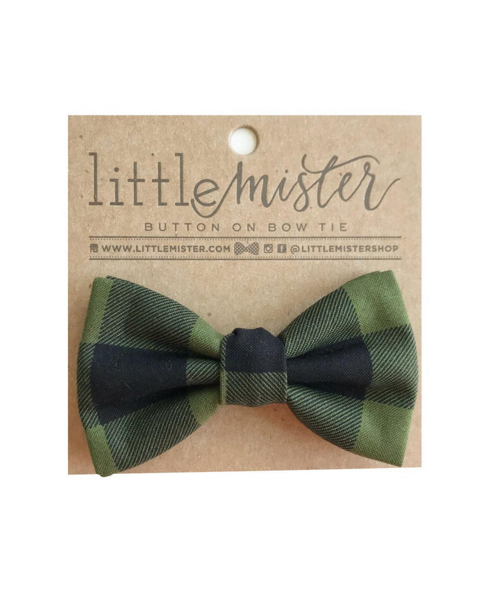 Little little mister accessories s Button On Bow Tie in Forest Christmas Plaid