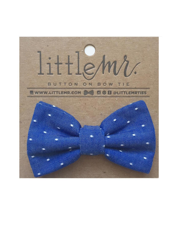 Little little mister accessories s Button on Bow Tie in Royal Polka Dot