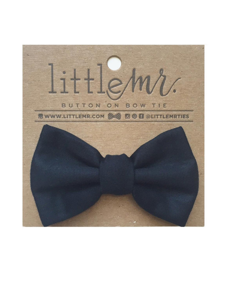 Little little mister accessories s Button on Bow Tie in Solid Black