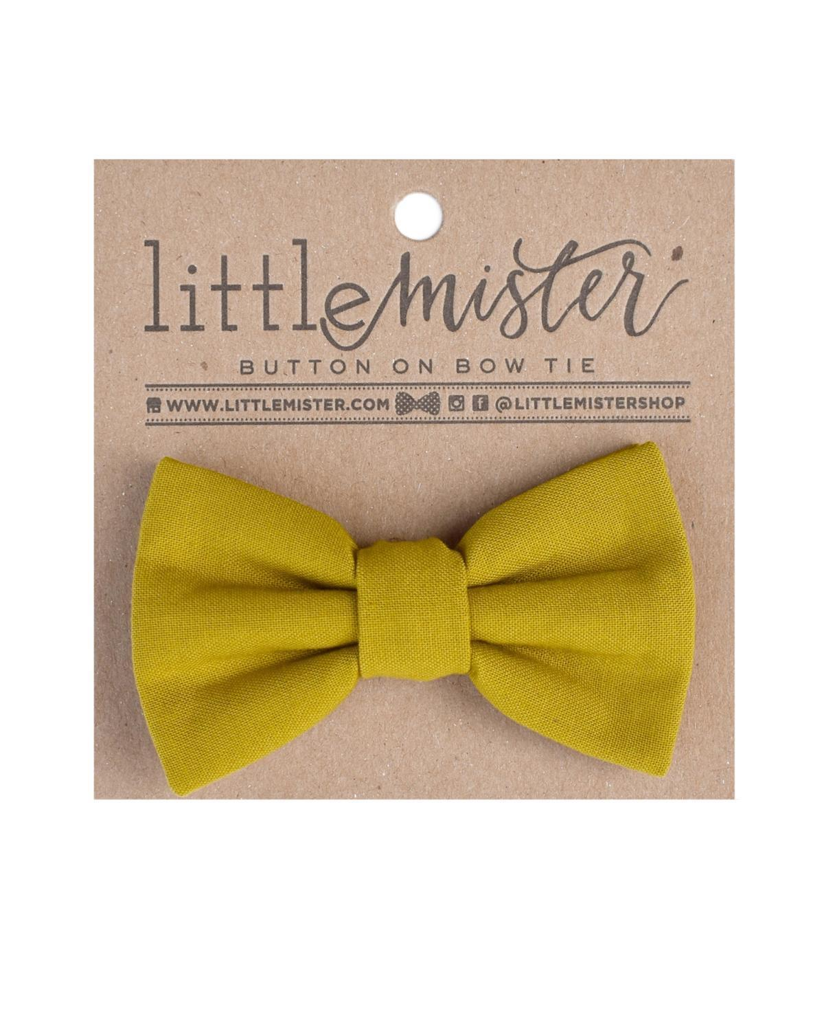 Little little mister accessories s Button on Bow Tie in Solid Chartreuse