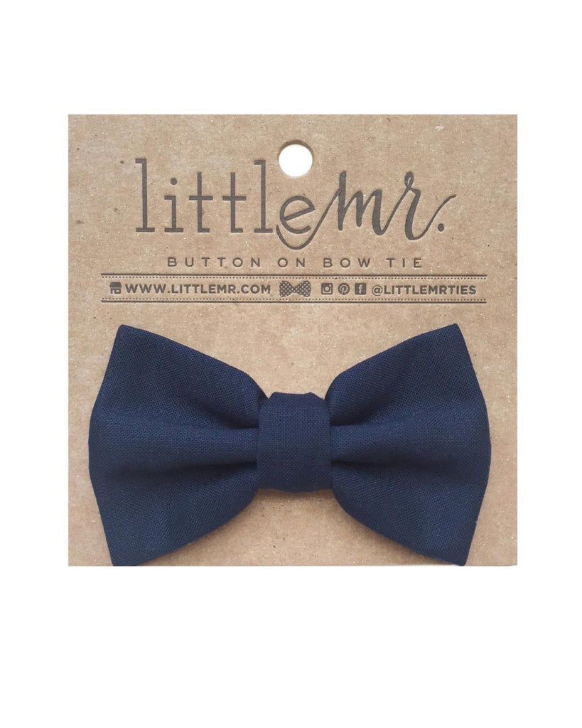 Little little mister accessories s Button on Bow Tie in Solid Navy