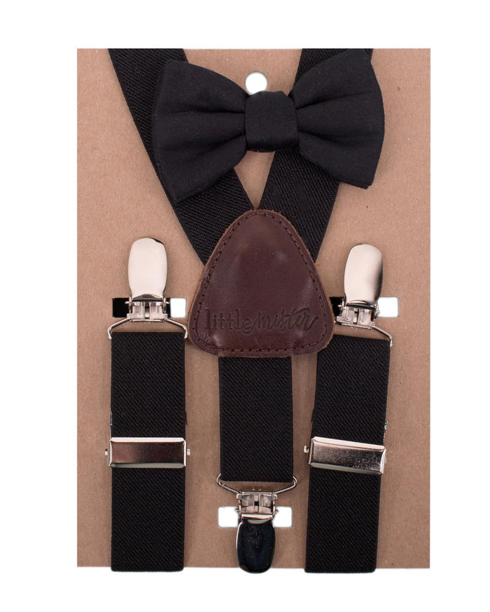 Little little mister accessories Suspender + Bow Tie in Black + Solid Black