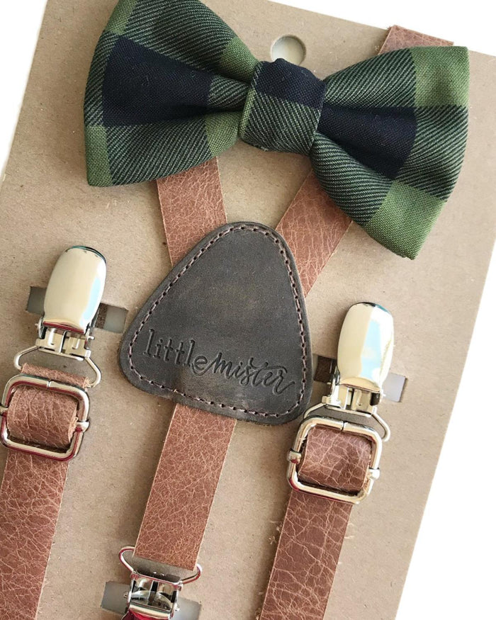 Little little mister accessories Suspender + Bow Tie in Leather + Forest Christmas Plaid