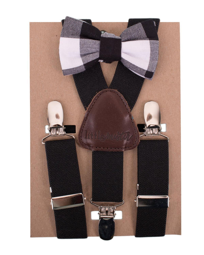 Little little mister accessories s Suspender + Bow Tie Set in Black + Black Check