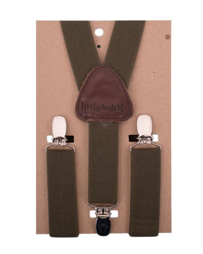 Little little mister accessories s Suspenders in Olive Green