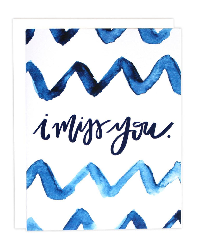 Little little print design paper+party Miss You Indigo Card