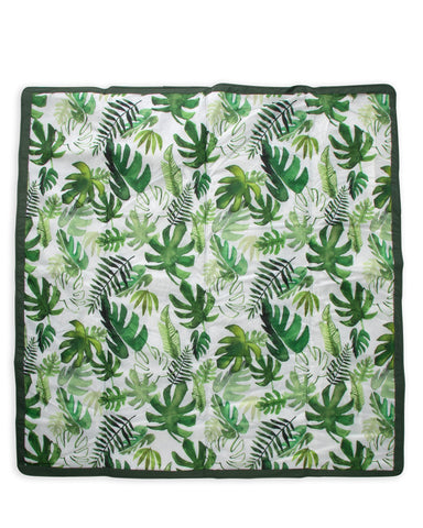 Little little unicorn play 5' x 5' outdoor blanket in tropical leaf