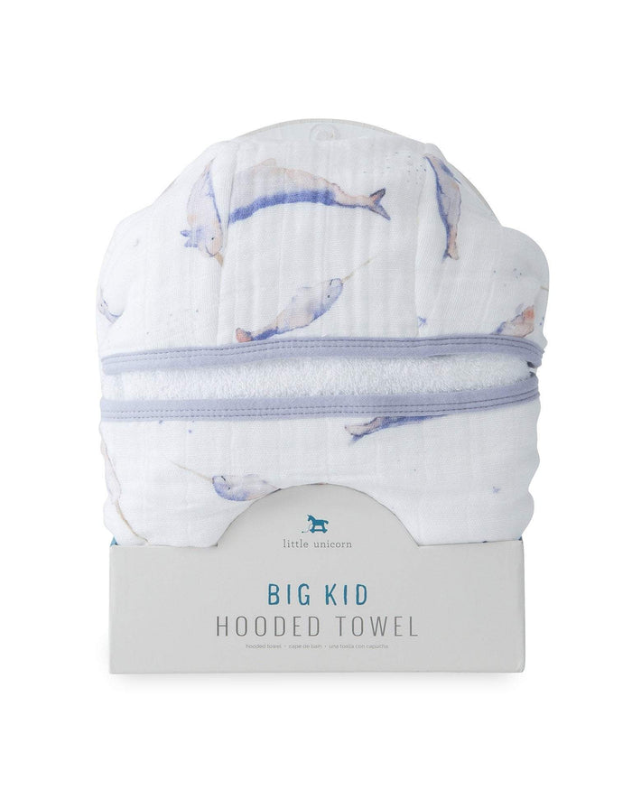 Little little unicorn room big kid hooded towel in narwhal