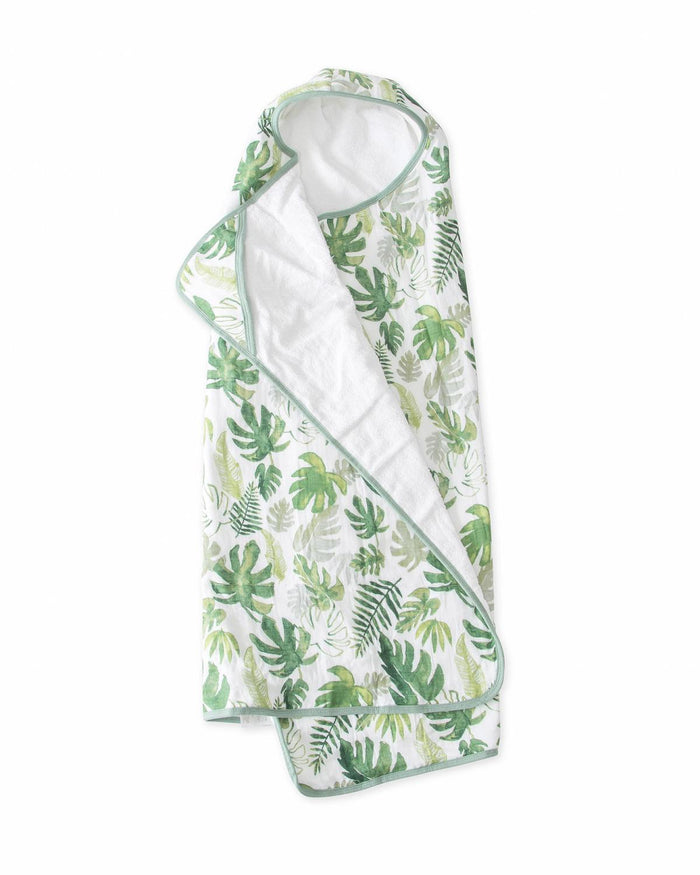 Little little unicorn room big kid hooded towel in tropical leaf