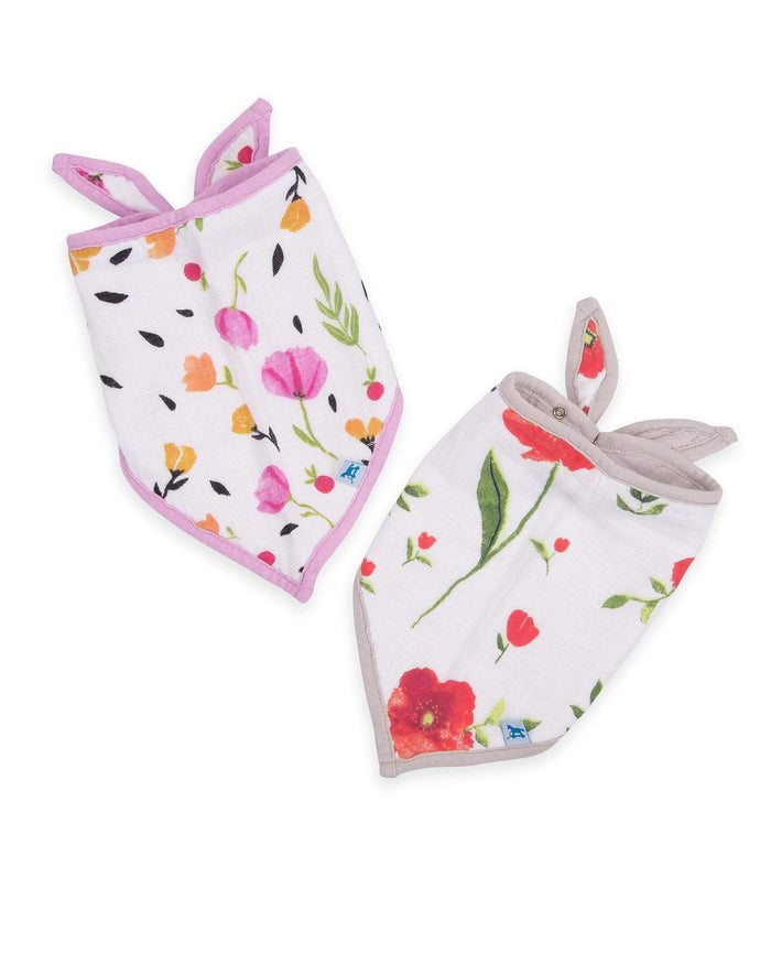 Little little unicorn baby accessories cotton muslin bandana bib 2 pack in summer poppy set