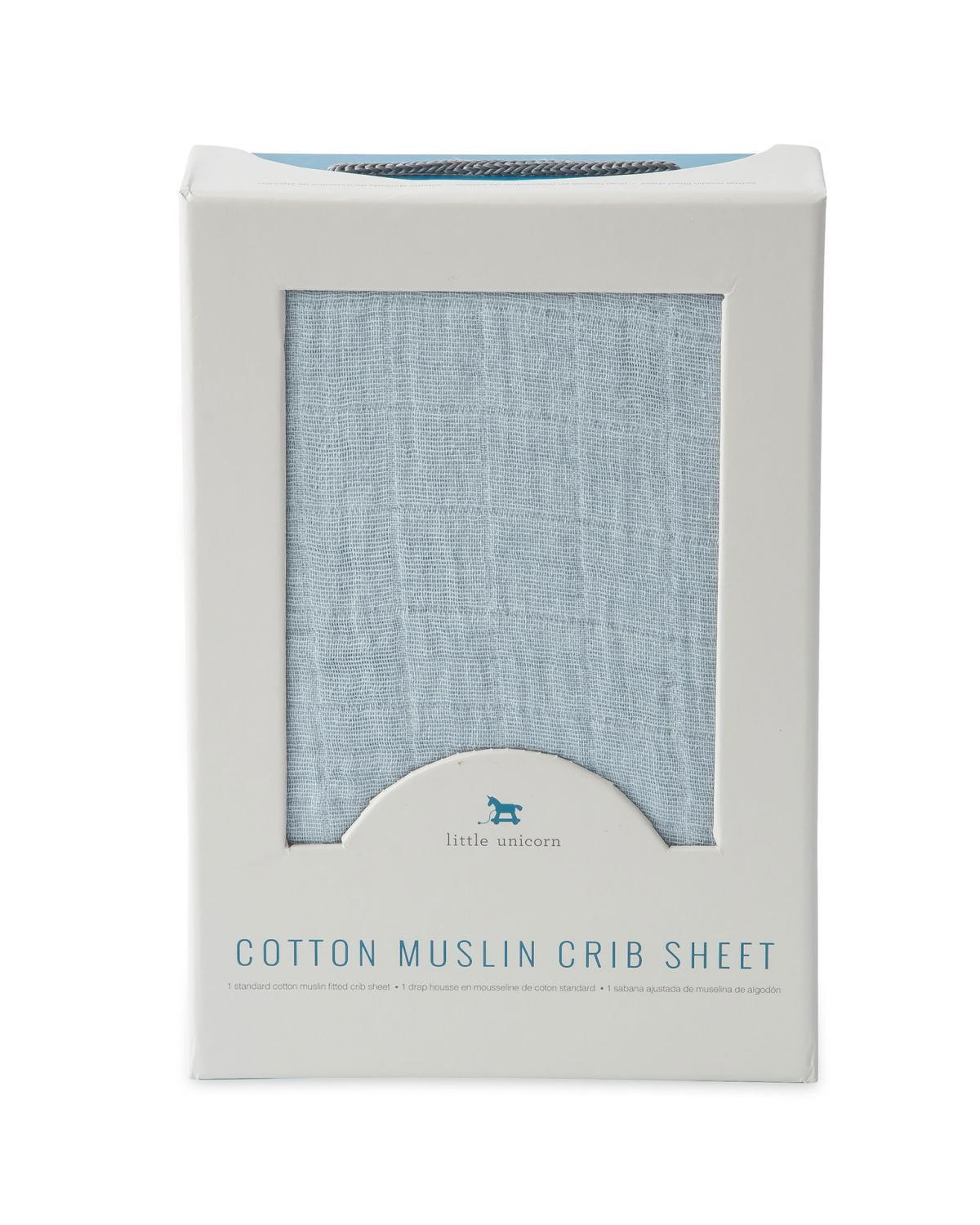 Little little unicorn room cotton muslin crib sheet in cloud blue