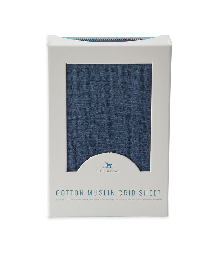 Little little unicorn room cotton muslin crib sheet in indigo wash