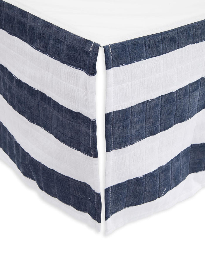 Little little unicorn room cotton muslin crib skirt in navy stripe