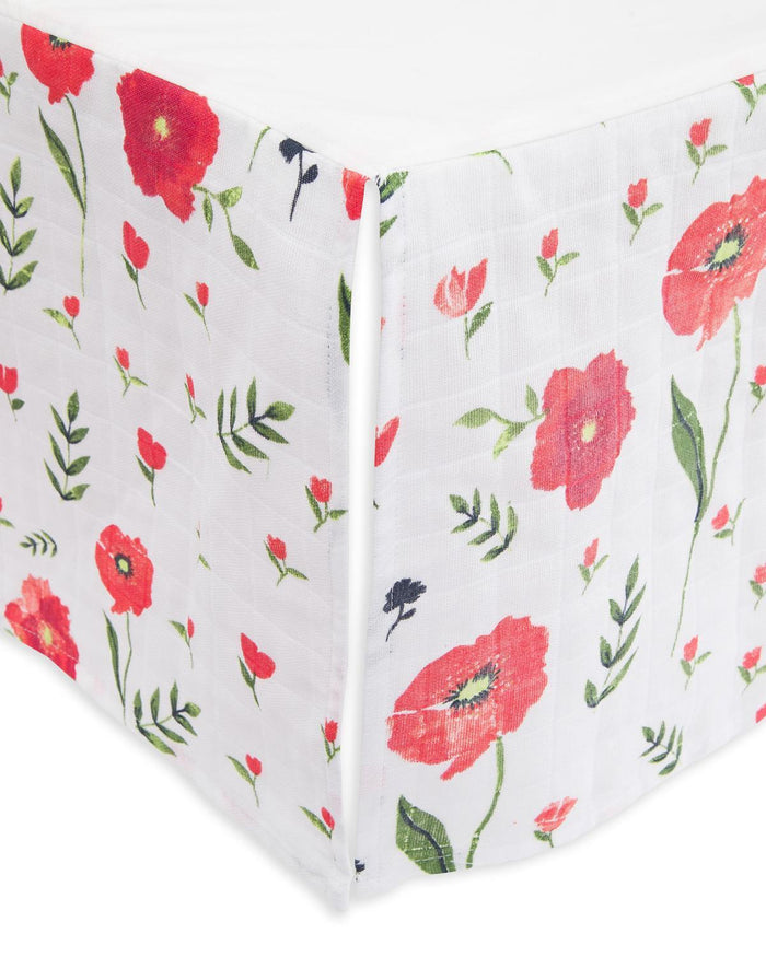 Little little unicorn room cotton muslin crib skirt in summer poppy