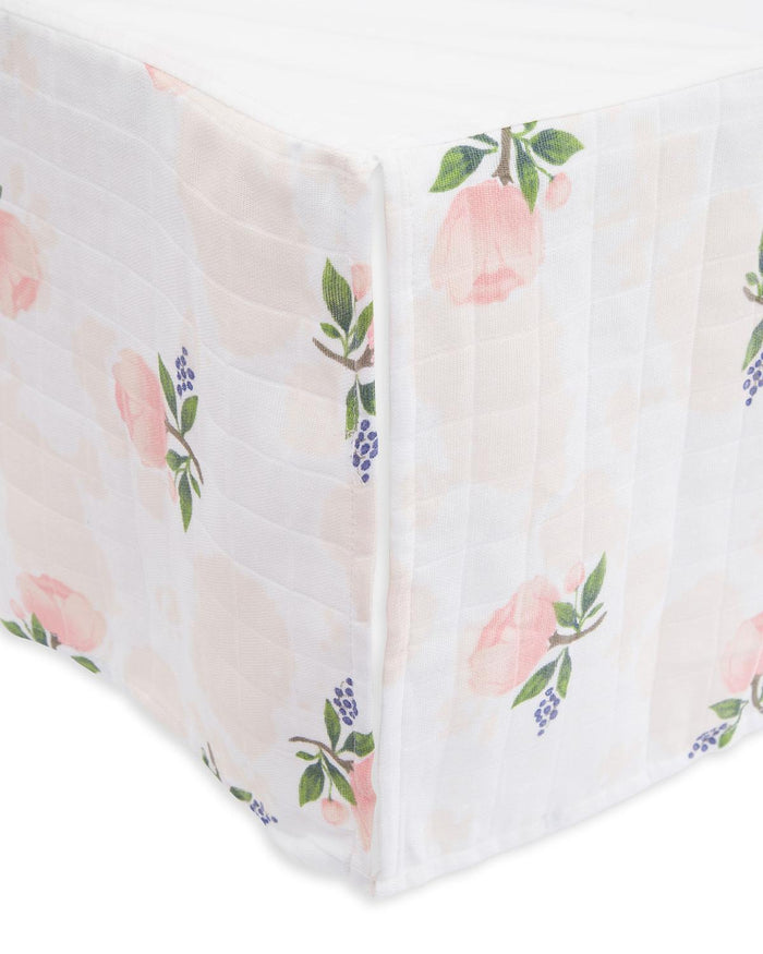 Little little unicorn room cotton muslin crib skirt in watercolor rose