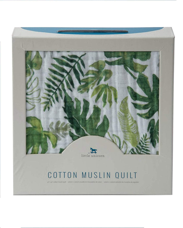 Little little unicorn room cotton muslin quilt in tropical leaf