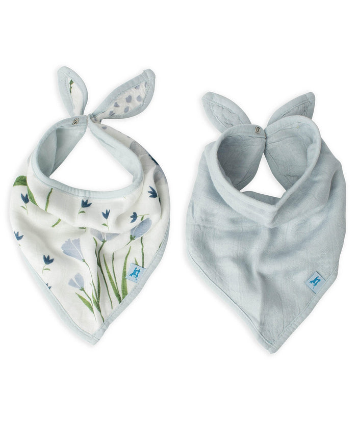 Little little unicorn baby accessories deluxe muslin bandana bib 2 pack in blue wildflower set