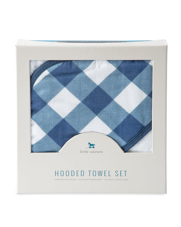 Little little unicorn room hooded towel + wash cloth in jack plaid