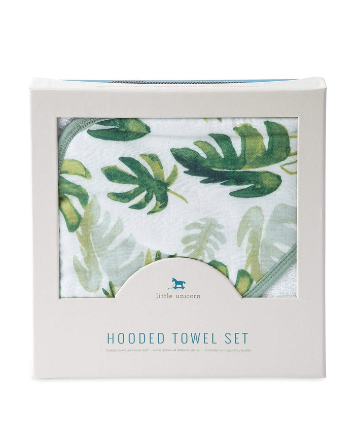 Little little unicorn room hooded towel + wash cloth in tropical leaf