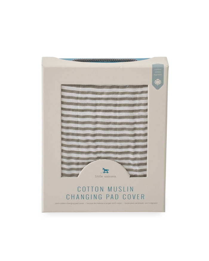 Little little unicorn room muslin changing pad cover in grey stripe
