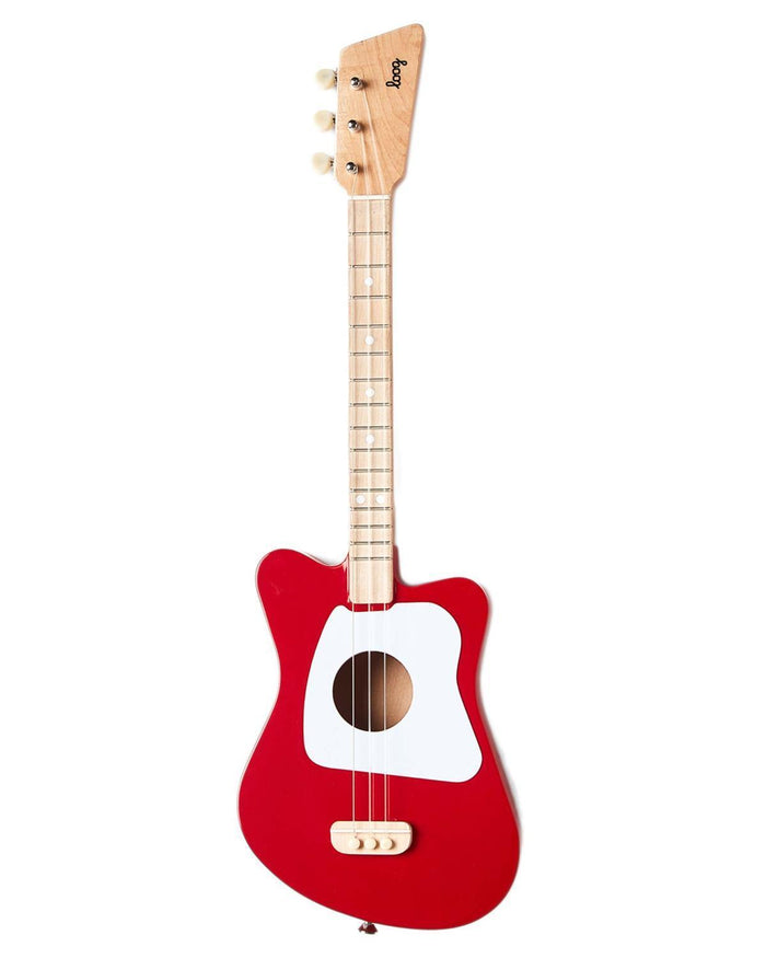 Little loog guitars play Loog Mini in Red