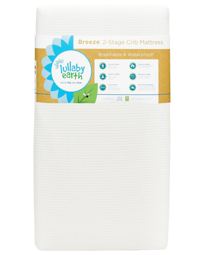 Little lullaby earth room Breeze Crib Mattress 2-Stage in White