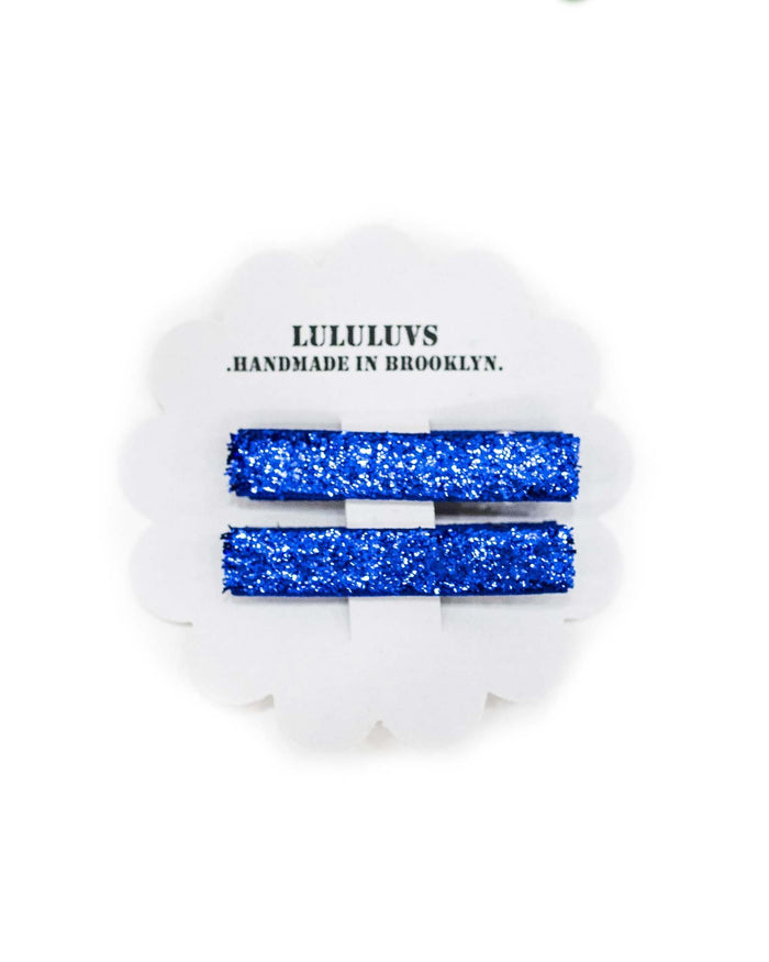 Little lululuvs accessories glitter bar clips in cobalt